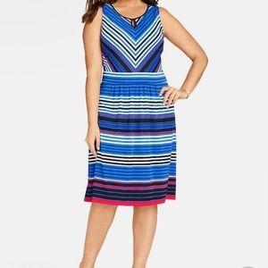 Talbots Petite City Stripes sleeveless dress